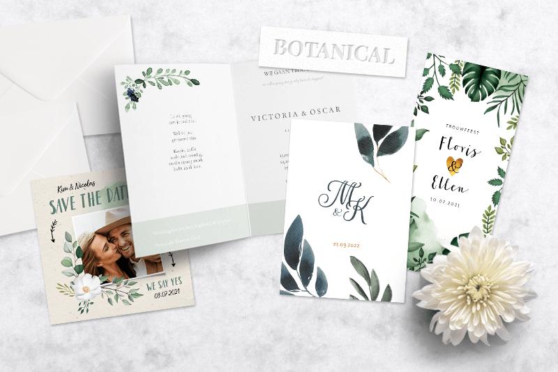 Trouwkaarten trends botanische en bohemian trouwkaarten