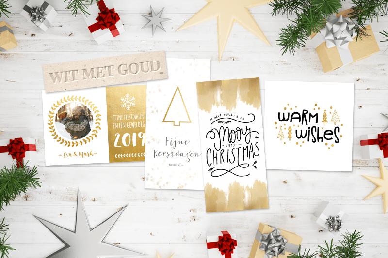 Kerstkaarten trend 2018: wit met goud