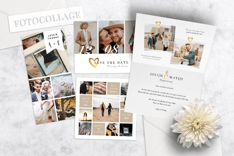 Trouwkaarten trends: Fotocollage trouwkaarten