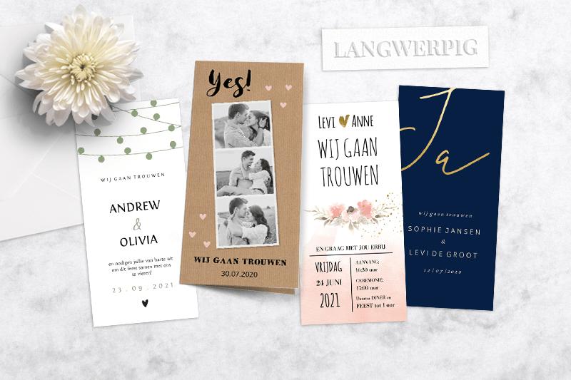 Trouwkaarten trends van 2019 Langwerpige trouwkaarten