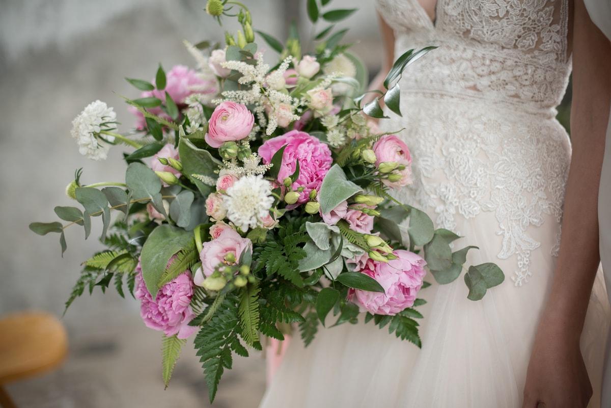 Bruids boeket roze groen