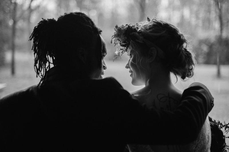 Bruidspaar zwart-wit
