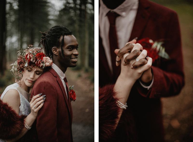 Fotoshoot in het bos bruid en bruidegom