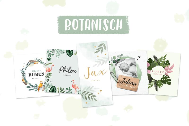 Geboortekaartje trend botanisch