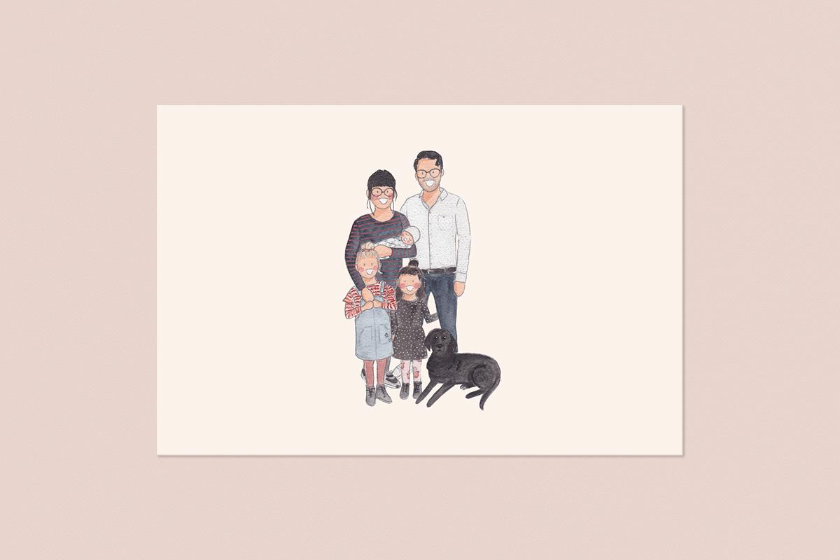Getekend gezins portret