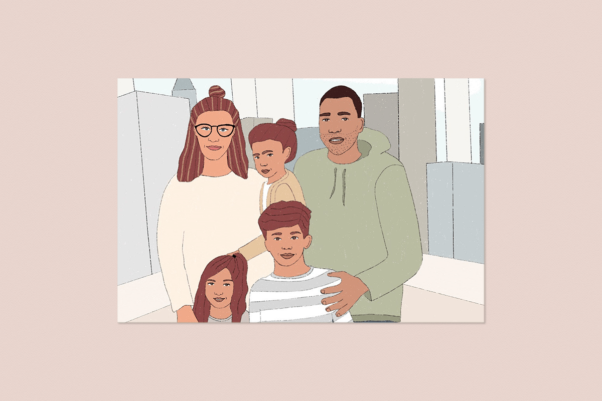 Getekend familieportret