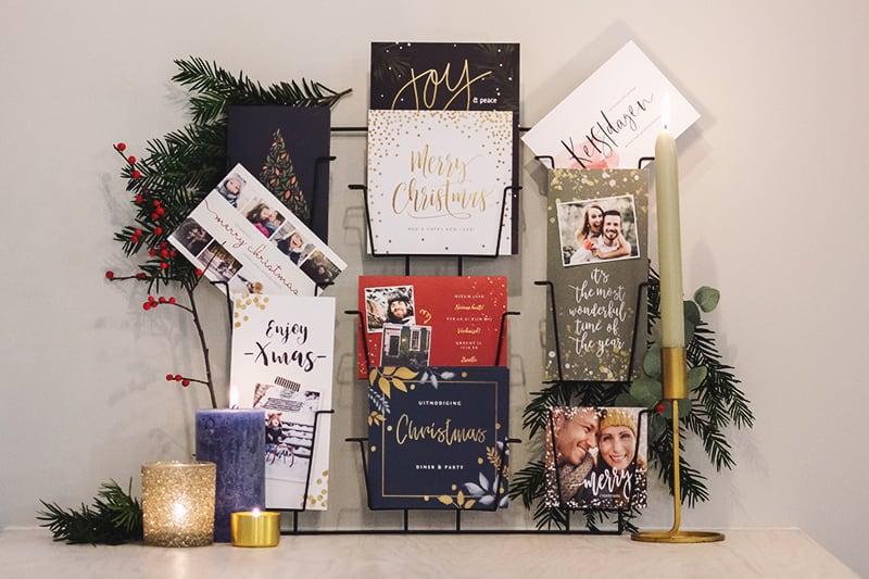 Kerstkaarten leuk ophangen kaartenrek