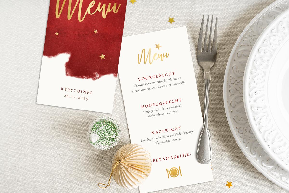 Kerst menukaart schrijven tekst