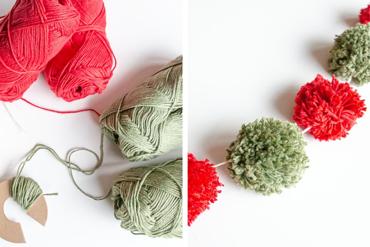 Kerstslinger maken pompon