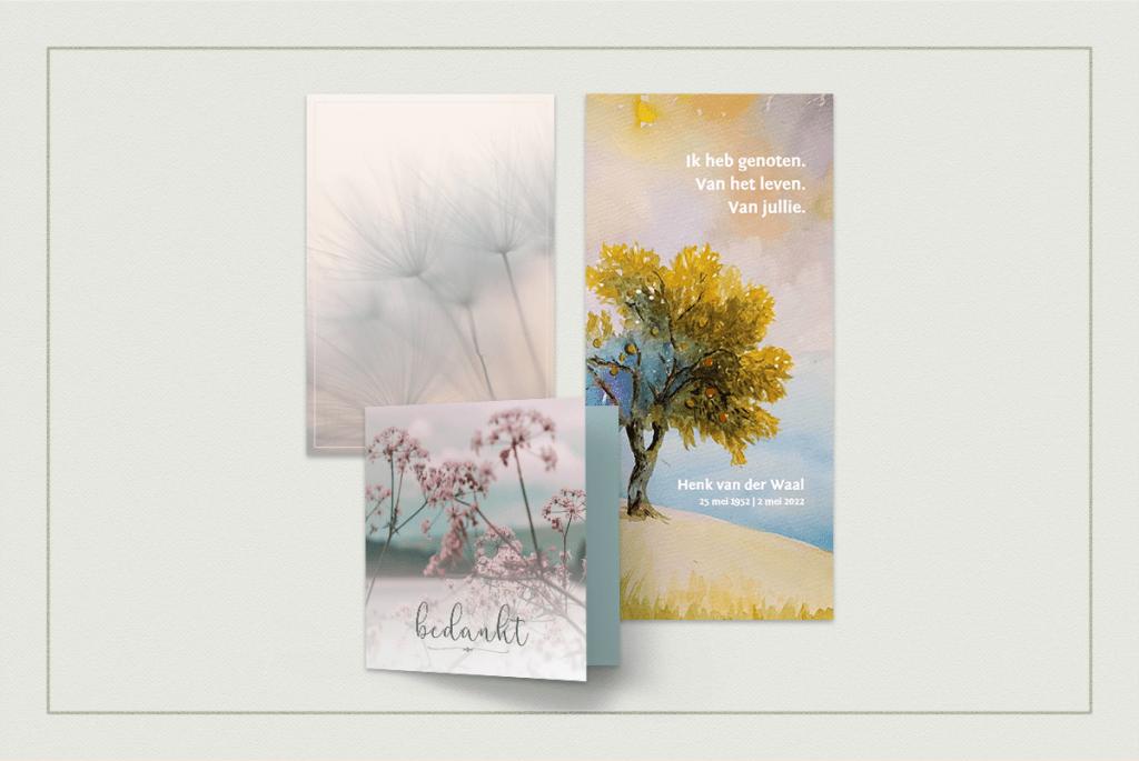 Natuur op een bedankkaartje na overlijden