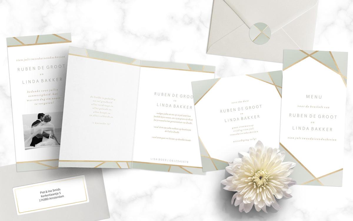Minimalistische trouwkaartenset