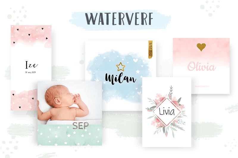 Geboortekaartje trends 2018: waterverf