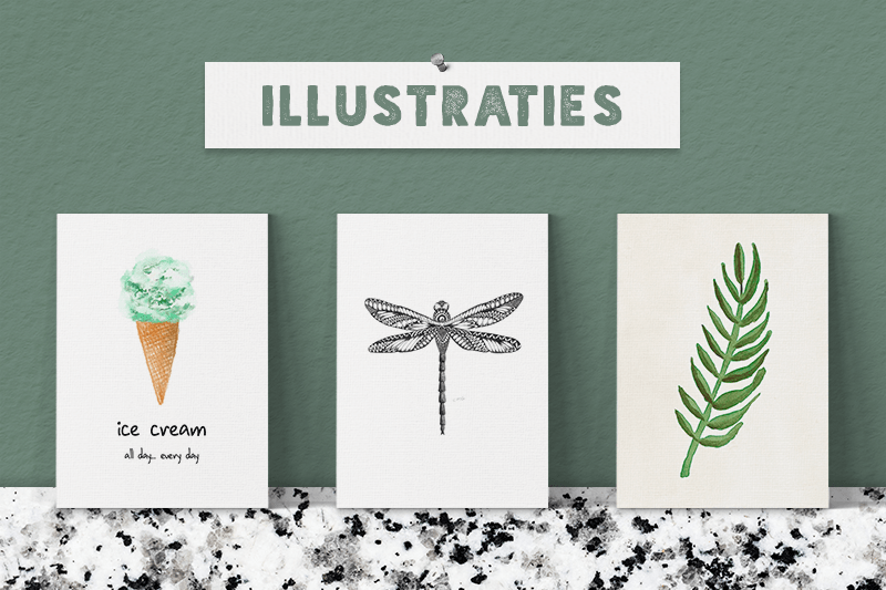 Interieurkaarten met illustraties