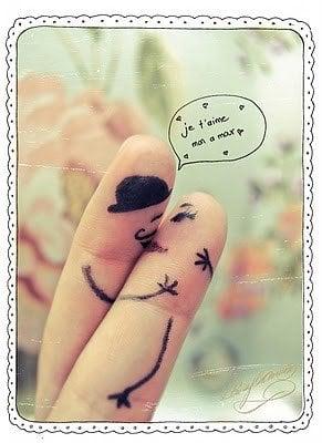 Verlovingskaart met vingers
