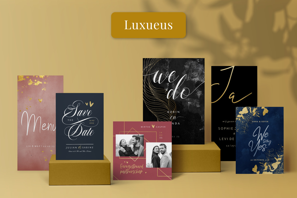 Luxe chique trouwkaarten