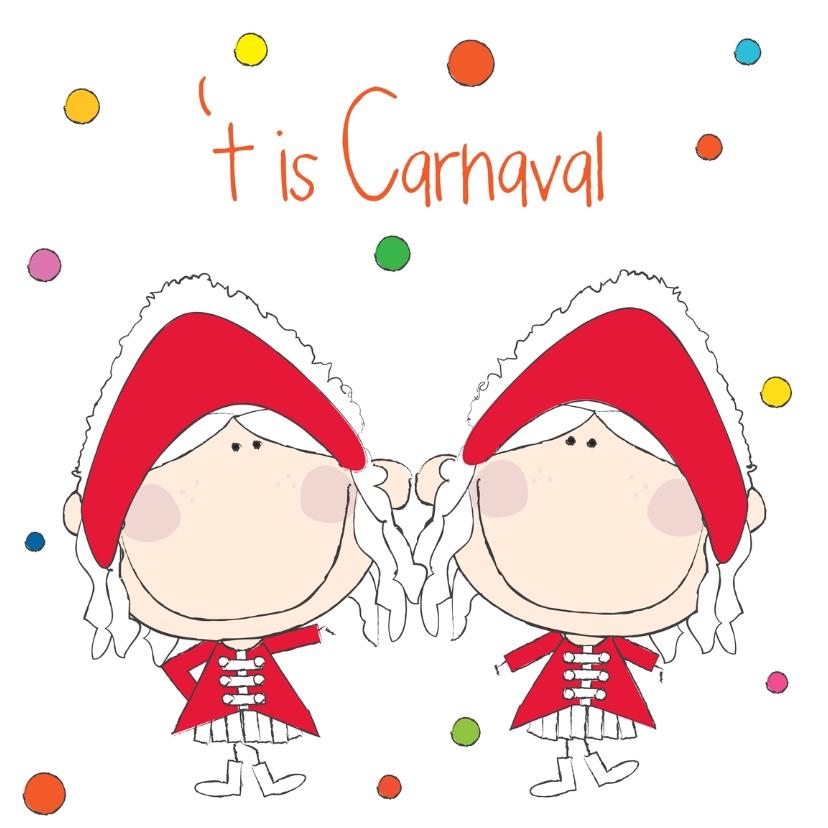 Carnavalskaarten - Het is Carnaval dansmarietjes