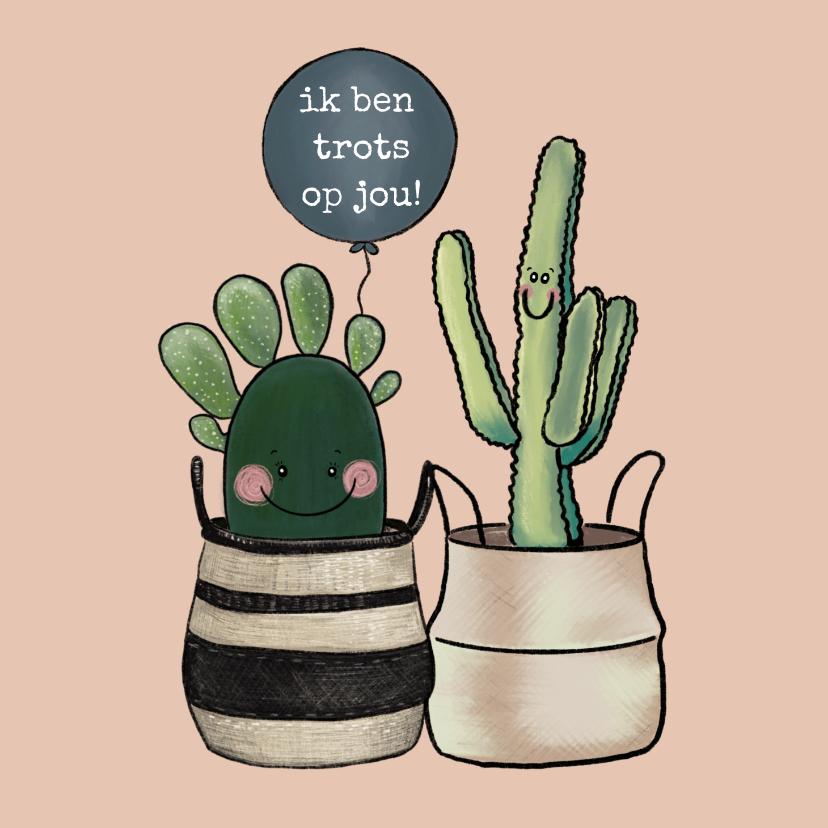 Coachingskaarten - Vrolijke coachingskaart 'Ik ben trots op jou!' met cactussen