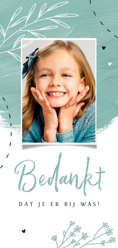 Communiekaarten - Bedankkaart Communie feest verf bloemen hartjes foto
