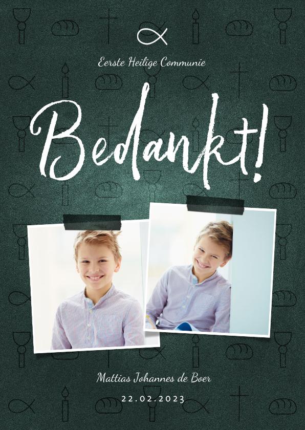 Communiekaarten - Bedankkaart communie jongen christelijke symbolen met foto's
