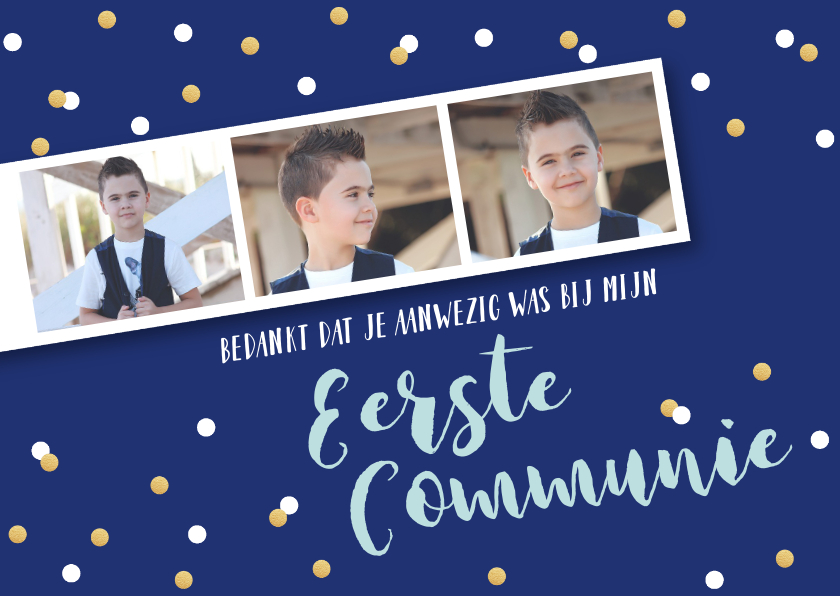 Communiekaarten - Bedankkaart communie jongen fotostrip confetti