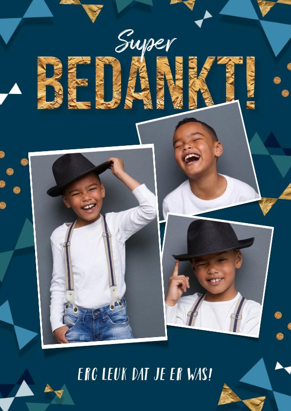 Communiekaarten - Bedankkaart communie jongen goud confetti strikjes foto