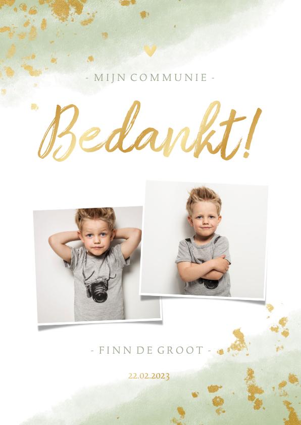 Communiekaarten - Bedankkaart communie jongen met waterverf en gouden spetters