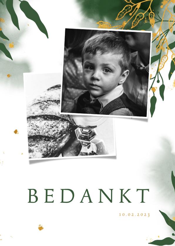 Communiekaarten - Bedankkaart communie met groene waterverf en gouden bladeren