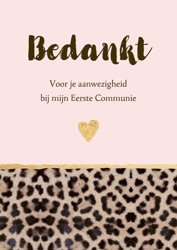 Communiekaarten - Bedankkaart communie panterprint hartje
