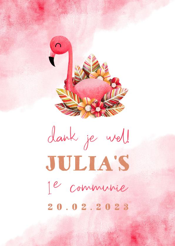 Communiekaarten - Bedankkaartje communie flamingo met waterverf