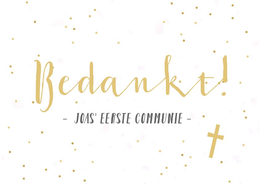 Communiekaarten - Bedankkaartje communie horend bij fotocollage uitnodiging