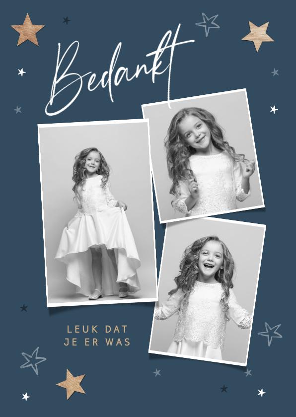 Communiekaarten - Bedankkaartje communie jongen meisje sterren fotocollage