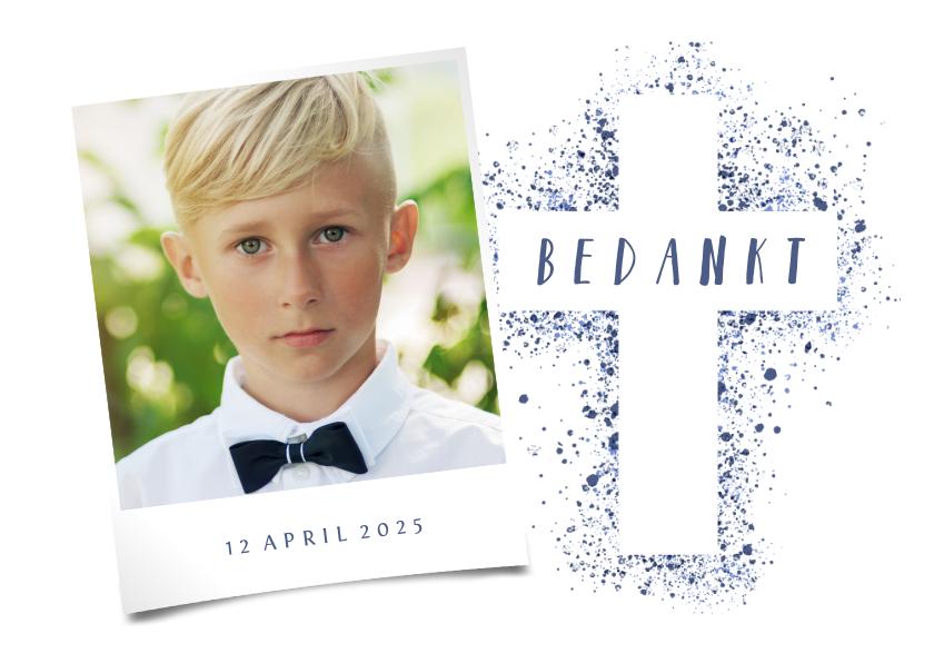 Communiekaarten - Bedankkaartje communie kruis foto verfspetters