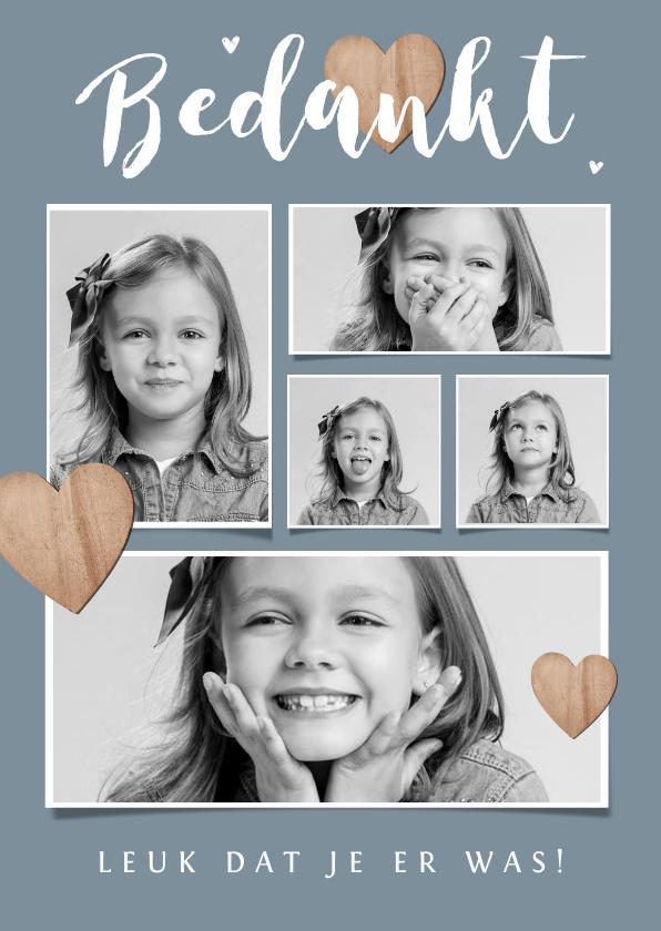 Communiekaarten - Bedankkaartje communie lentefeest fotocollage houten hartjes