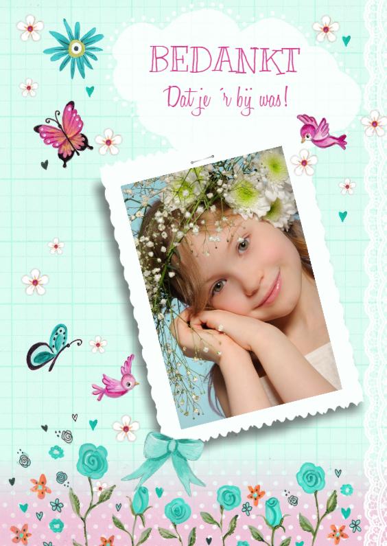 Communiekaarten - Bedankkaartje Communie Meisje