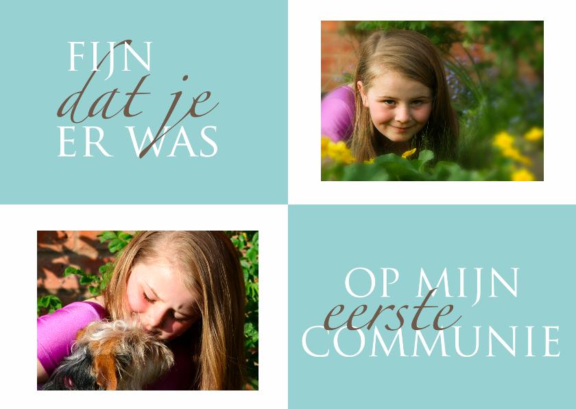 Communiekaarten - Communie bedankkaart twee fotos