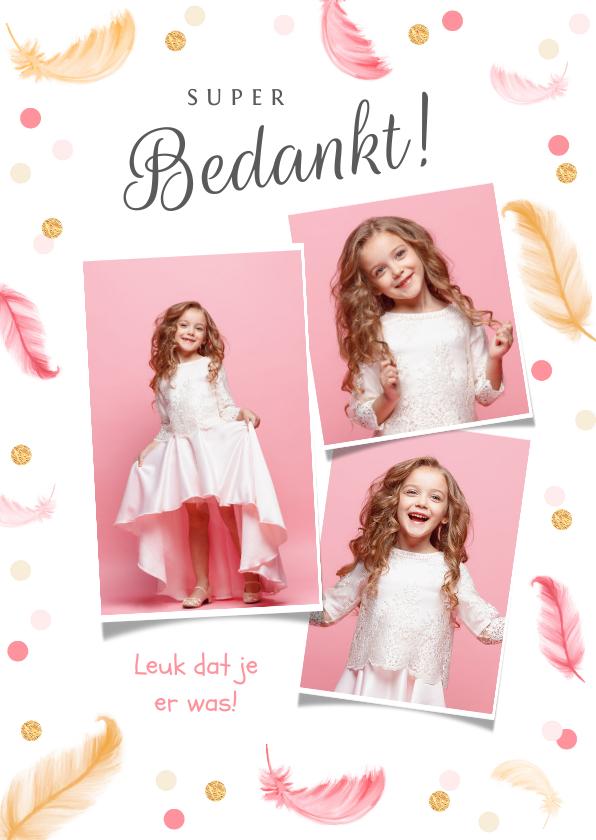 Communiekaarten - Communie bedankkaartje meisje veertjes confetti fotocollage