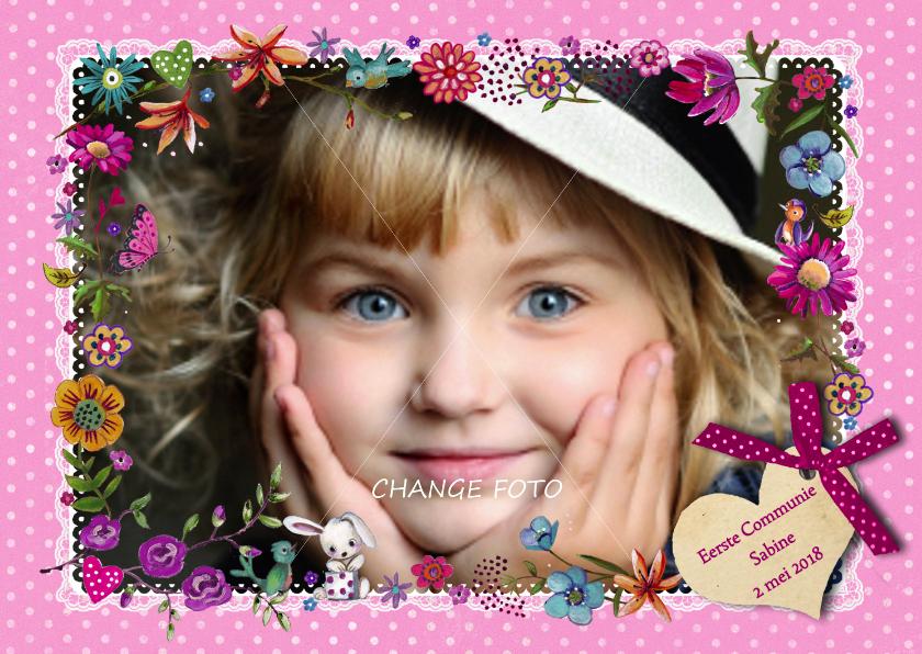 Communiekaarten - Communie Bloemen Rand Roze FOTO meisje