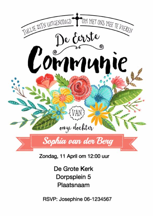 Communiekaarten - Communie Bloemen uitnodiging