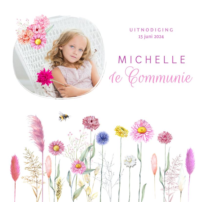 Communiekaarten - Communie bloemenveld