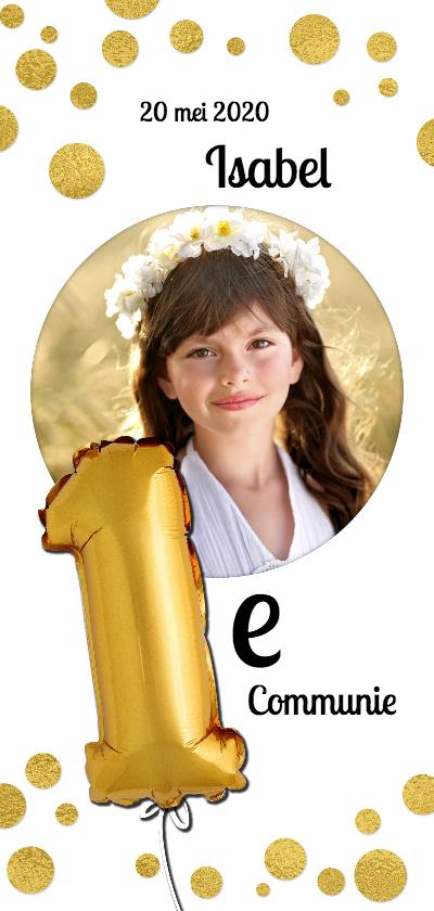Communiekaarten - Communie confetti goud en ronde foto