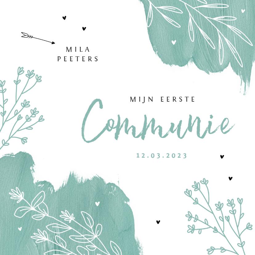 Communiekaarten - Communie feest uitnodiging verf bloemen hartjes lentefeest