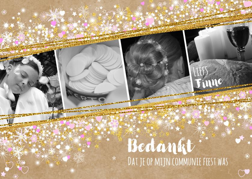 Communiekaarten - Communie fleurige stijlvolle bedankkaart kraft en hartjes