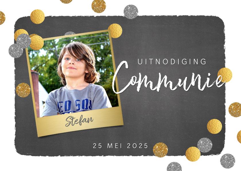 Communiekaarten - Communie foto uitnodiging stoer krijtbord en confetti