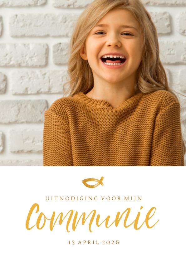Communiekaarten - Communie fotokaart uitnodiging handschrift