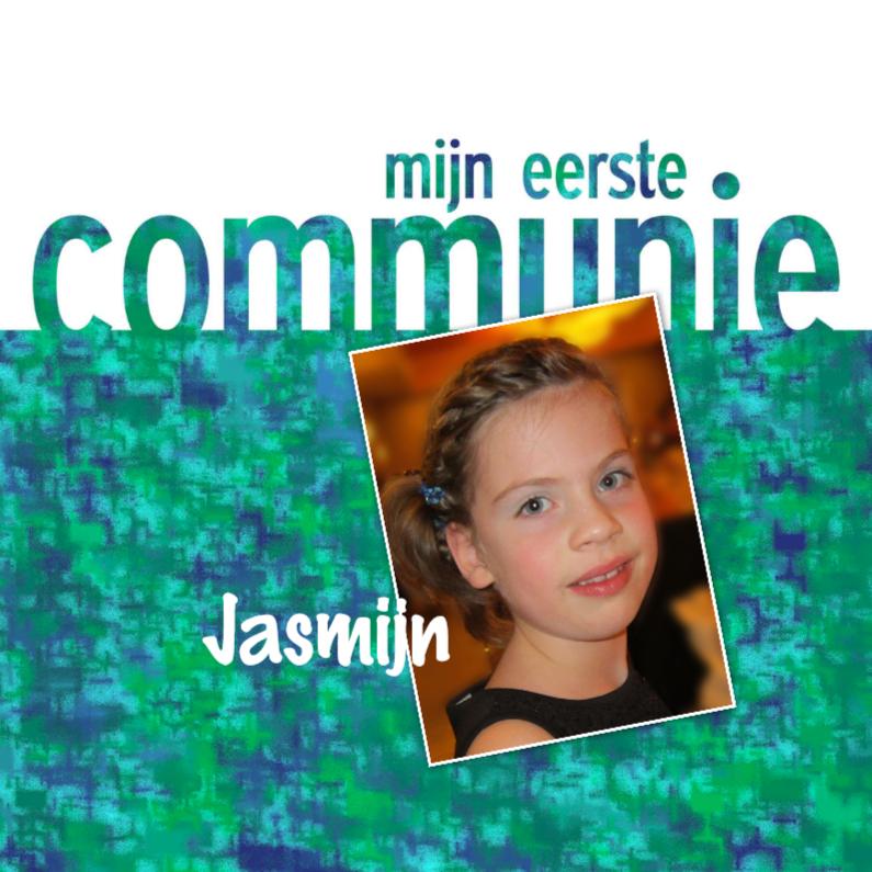 Communiekaarten - communie groen blauw met foto