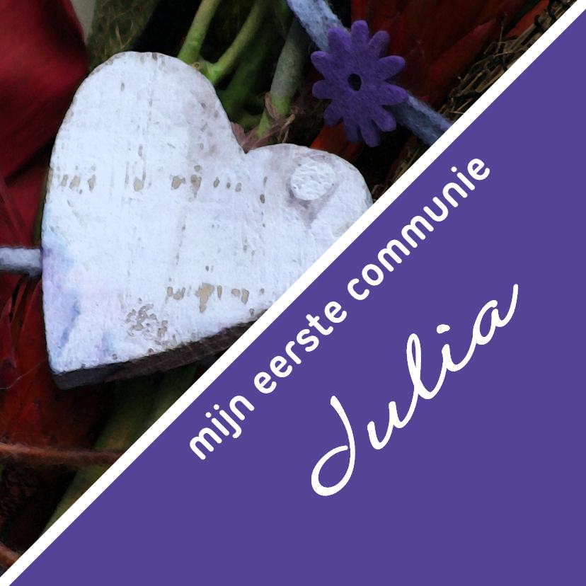 Communiekaarten - communie hart paars