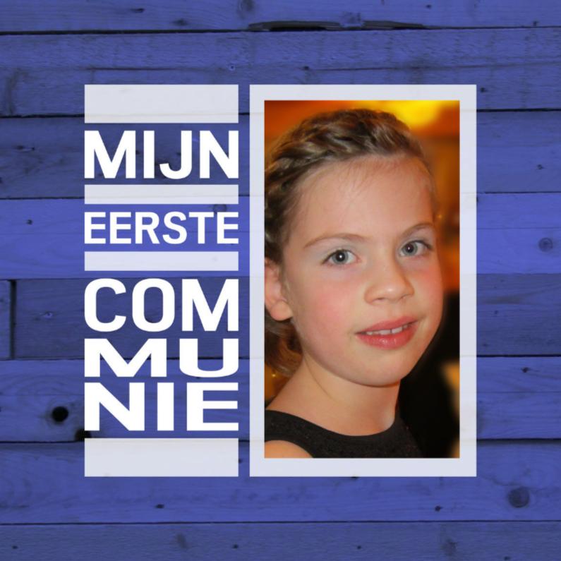 Communiekaarten - communie hout blauw