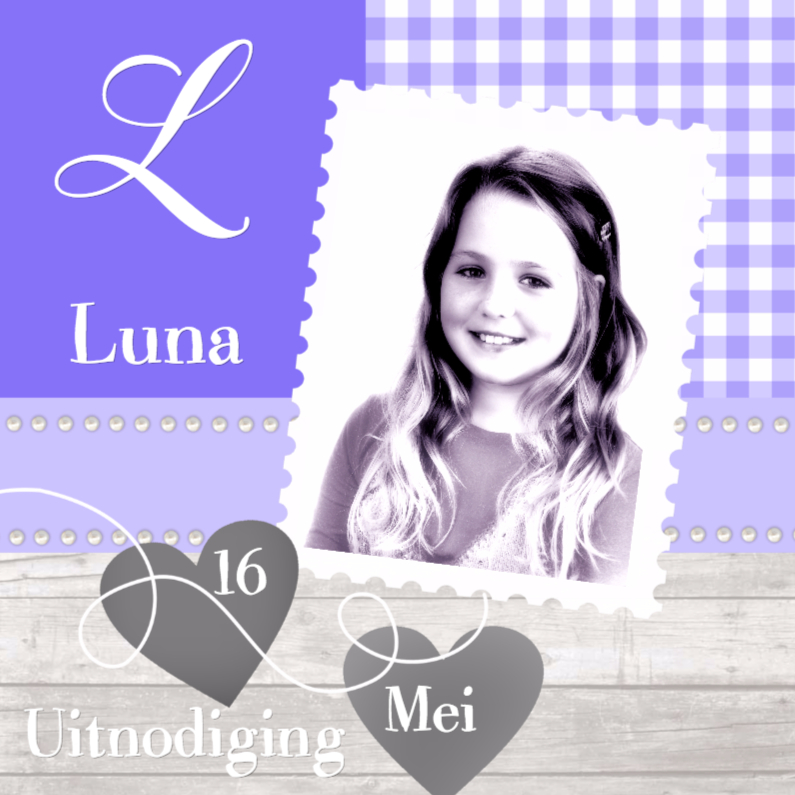 Communiekaarten - Communie Hout met Lila