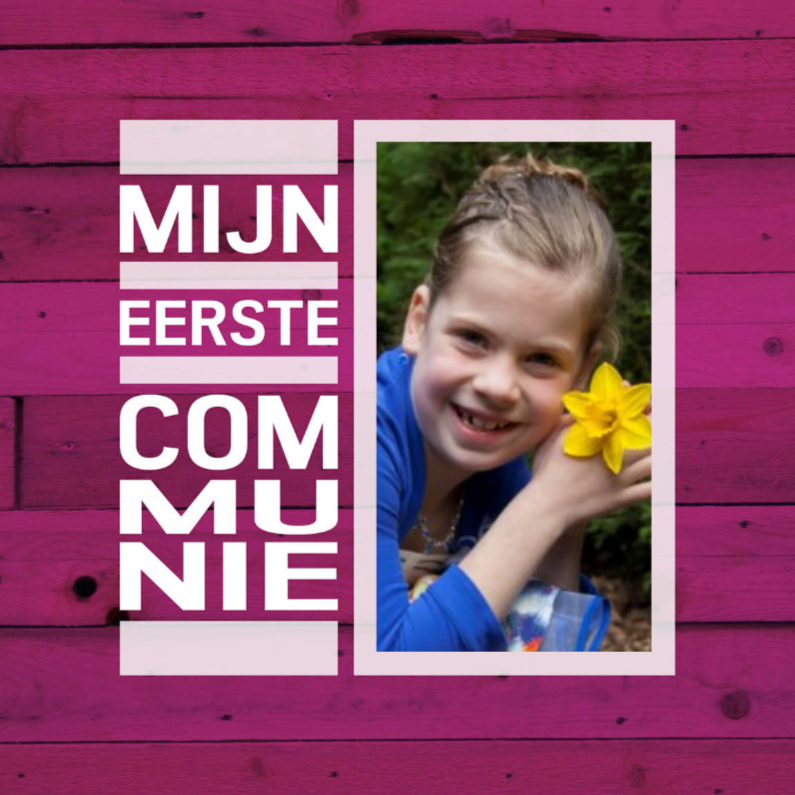 Communiekaarten - communie hout roze paars