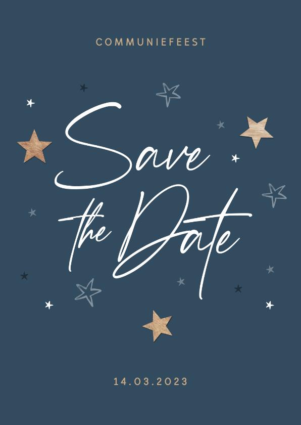 Communiekaarten - Communie houten sterren save the date uitnodiging stijlvol